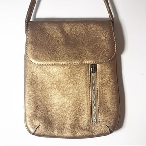 Tignanello Bronze Metallic Leather Crossbody
